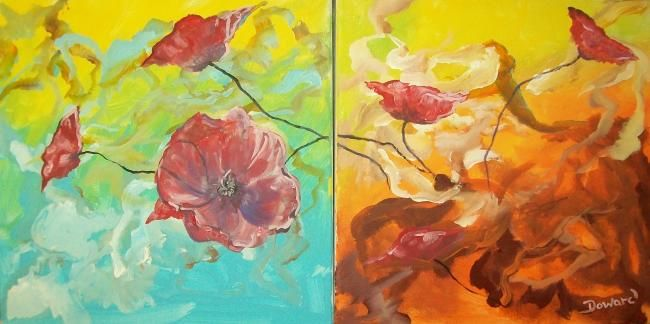 """Painting titled """"Poppies Double Canv…"""" by Raymond Doward, Original Art, Oil"""