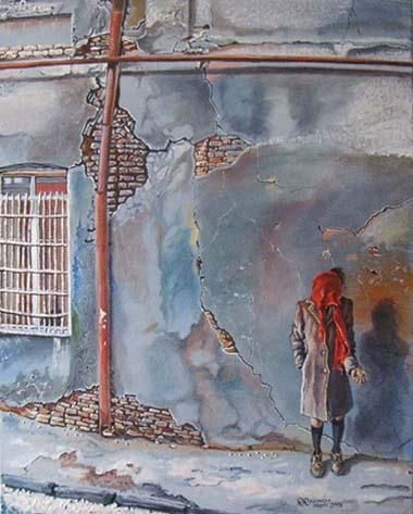 """Painting titled """"Poverty is not a vi…"""" by Ramaz Razmadze, Original Art, Oil"""