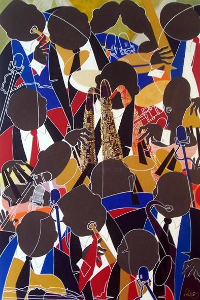 JAZZ BAND - Painting,  76.8x51.2 in, ©2011 by FATHI -                                                              JAZZ BAND