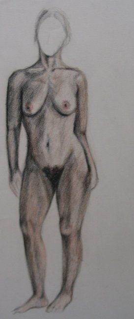 Drawing of woman driving naked 3