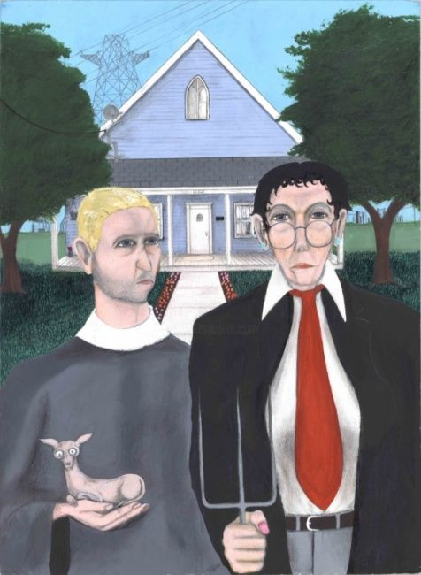 """Painting titled """"American Gothic 2006"""" by Reginald Williams, Original Art, Oil"""