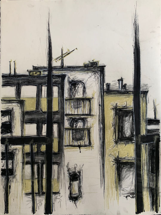 """Drawing titled """"Brooklyn Fire Escape"""" by Elena Disabato (Red Kimono Design), Original Art, Charcoal Mounted on Other rigid p…"""