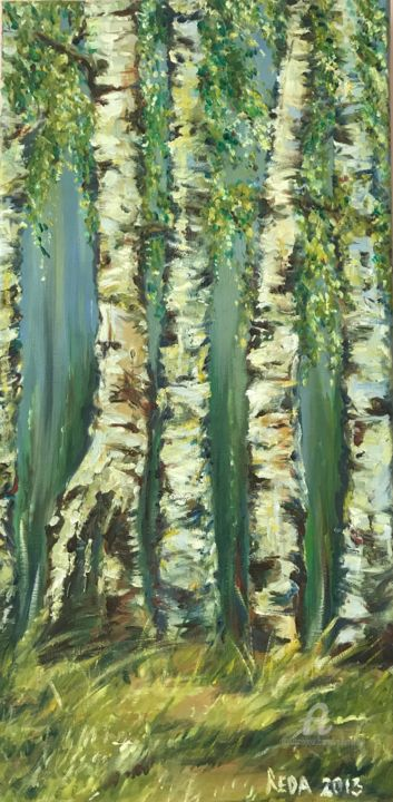 Birches - © 2013 oil painting, birches, trees, botanic, land art Online Artworks
