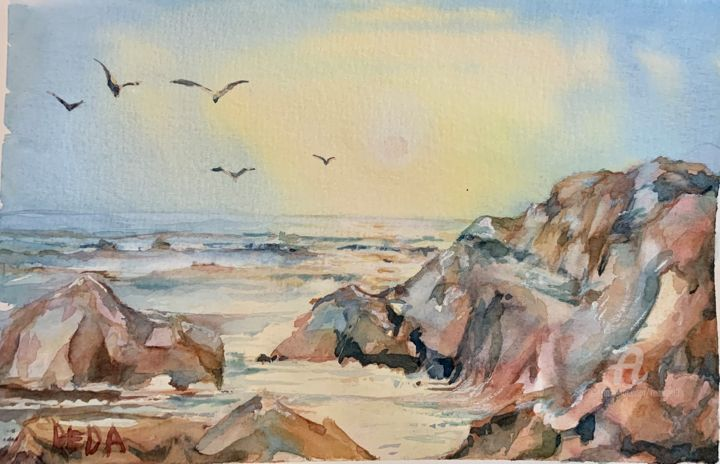 """Painting titled """"Sunny morning on th…"""" by Reda Pinchera, Original Art, Watercolor"""