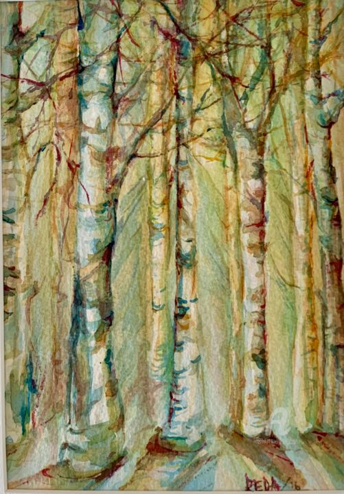 """Painting titled """"Birches"""" by Reda Pinchera, Original Art, Watercolor Mounted on Cardboard"""