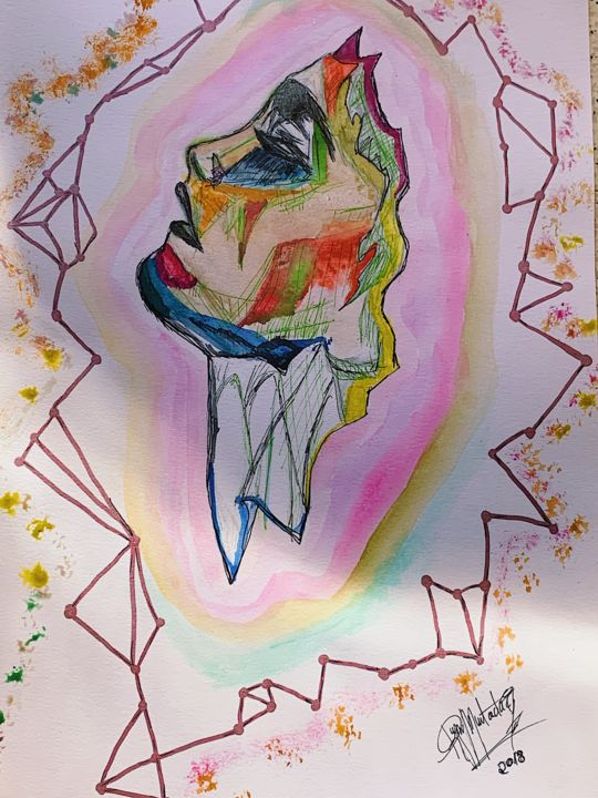 Science Painting, watercolor, expressionism, artwork by Rym Murtada