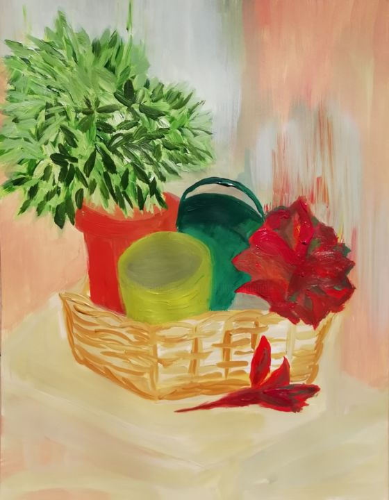 Véronique - Painting,  50x65 cm ©2018 by Régine Ledanois -                        Still life