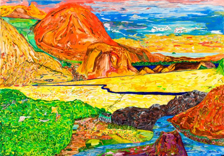 Paysage.(Gouache, ocre, ochre) - Painting,  16.1x22.8 in ©1994 by Régis Testard -                                                                                                                                Outsider Art, Abstract Art, Conceptual Art, Art Deco, Animals, Aerial, Colors, Rural life, Nature, landscape, colorfull, rural life, ocre, ocher, mountains, aerial, imagination, creation, ochre, ocre rouge, ocre jaune, original, canvas, impression sur toile, canvas print