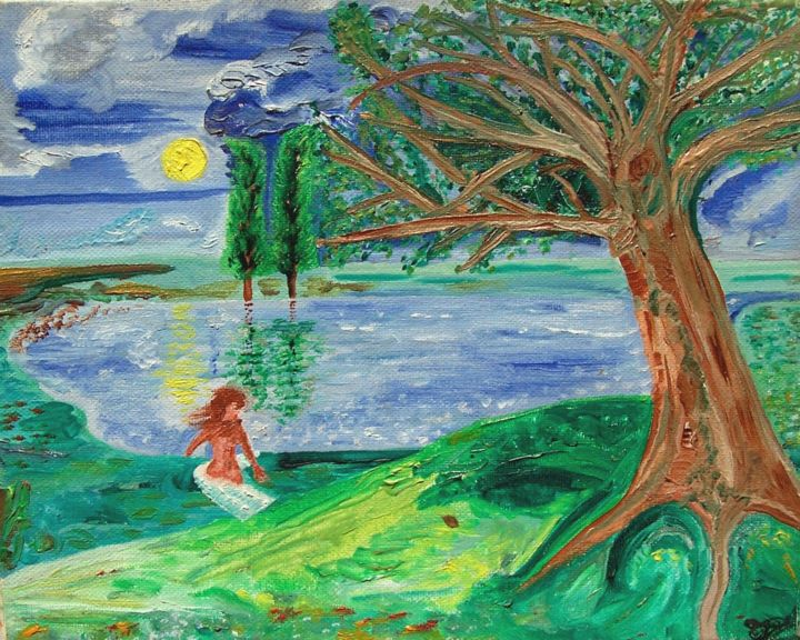 Baigneuse à l'étang.(Huile, ocre, oil, ochre) - Painting,  7.5x9.5x0.8 in ©2000 by Régis Testard -                                                                                                                                Outsider Art, Conceptual Art, Figurative Art, Naive Art, Love / Romance, Angels, Tree, Botanic, Fairytales, peinture, imagination, creation, original, canvas, canvas print, composition, der Badende am Teich, the bather at the pond, el bañista en el estanque, la baigneuse à l'étang, купальщик в пруду, gölette bather, o banhista na lagoa, живопись маслом, oil painting, охра, ocre, ochre painting, Peinture à l'ocre, à vendre, для продажи, продается живопись маслом, peinture à l'huile à vendre, oil painting for sale, original oil painting for sale, peinture originale à l'huile, pittura ad olio originale, in vendita, pintura al óleo original, para la venta, canvas print for sale, original canvas print for sale, печать на холсте, Печать на холсте продается, print on canvas, Druck auf Leinwand, peinture originale à vendre, zu verkaufen, Ölgemälde zu verkaufen, Originalgemälde zu verkaufen, оригинальная живопись, kavak, тополь, álamo, pioppo, желтое солнце, soleil jaune, yellow sun, sarı güneş, gelbe Sonne, sol amarillo, sole giallo, sol amarelo, árvore, дерево, albero, árbol, ocre jaune, ocre rouge, red ocher, yellow ocher, oeuvre, artwork, out, fuera, opera, fora, из, dışarı, eksteren, flava suno, провидческое искусство, art visionnaire, visionäre Kunst, visionary art, arte visionario, arte visionaria, vizyoner sanat