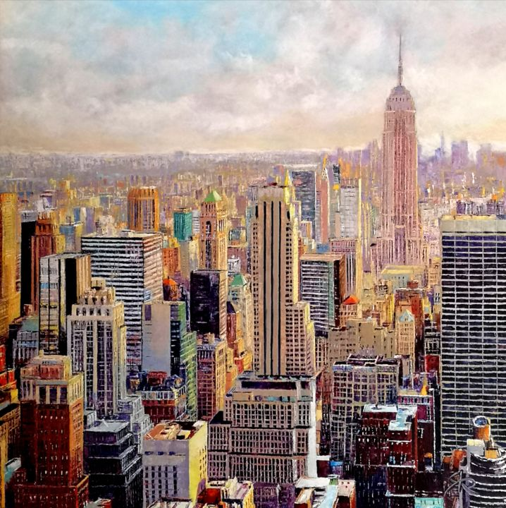 NEW YORK TWO - Painting,  39.4x39.4x1.6 in, ©2019 by Regis Rigaux -                                                                                                                                                                          Figurative, figurative-594, Architecture