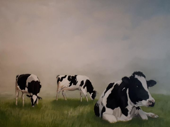 """Painting titled """"3 cows in Normandy"""" by R.Paül, Original Art, Oil"""
