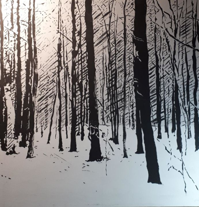 """Painting titled """"winter forest"""" by R.Paül, Original Art, Acrylic"""