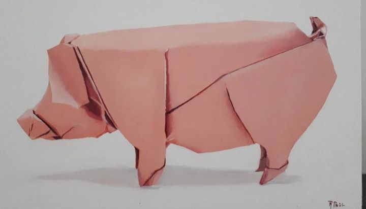 """Painting titled """"origami pig"""" by R.Paül, Original Art, Oil"""