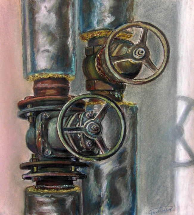 """Painting titled """"The Pipes"""" by Roman Rembovsky, Original Art, Pastel"""