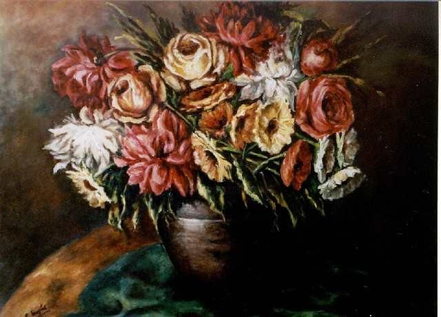 Flores - Painting,  21.7x27.6 in, ©2002 by Remigio Megías García -                                                                                                                          Figurative, figurative-594