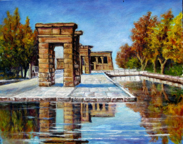 Madrid. templo de Debod - Painting,  1.2x11.8x15.8 in, ©2015 by Remigio Megías García -                                                                                                                                                                                                                                                                                                                  Figurative, figurative-594, Cities, paisaje, urbano, Madrid