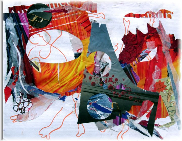 Allo les bulles - Peinture,  11,8x15,8 in, ©2013 par Rémy Nicolas Graphite -                                                              Collage abstraction