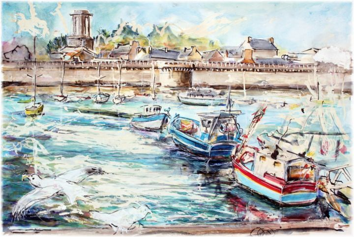 Concarneau le port bleu aquarelle - Painting,  15.8x23.6 in, ©2014 by rémy Nicolas graphite -