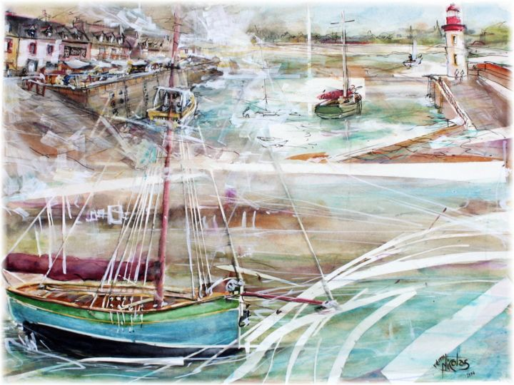 Erquy Bretagne le port aquarelle - ©   Online Artworks