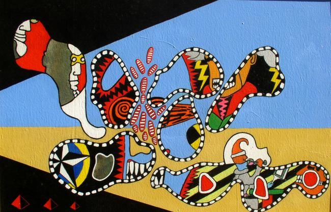 desert 1957 - Painting,  27.6x39.4 in, ©2000 by Remy Rault -
