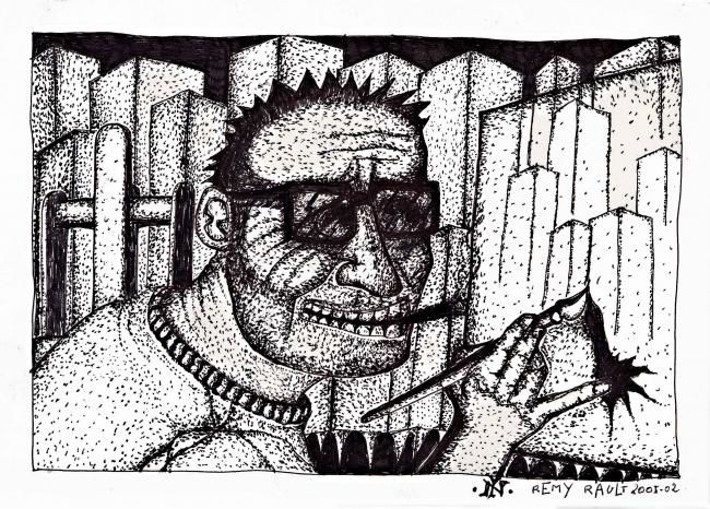dessin n°4 - Painting,  5.9x8.3 in, ©2007 by Remy Rault -