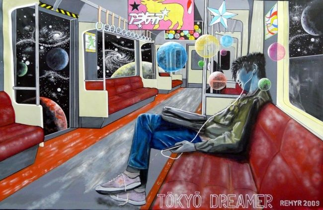 Tokyo DreamER - Painting,  59.1x74.8 in, ©2009 by Remy Rault -                                                              tokyo metro dreamer