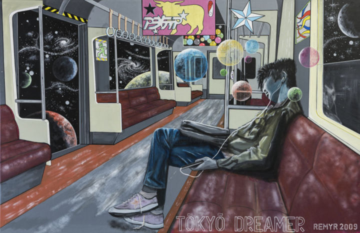 TOKYO DREAMER - Painting,  63x76.8 in, ©2009 by Remy Rault -                                                              acrylic on canvas