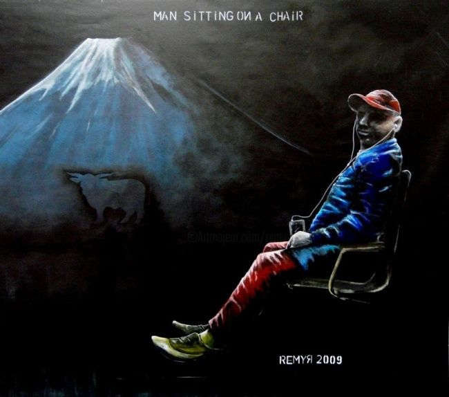 Man sitting on a chair  sept. 2009 - Painting,  59.1x59.1 in, ©2009 by Remy Rault -