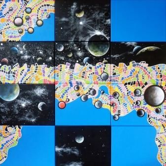 Unity is not uniformity - Painting,  48.4x48.4 in, ©2011 by Remy Rault -