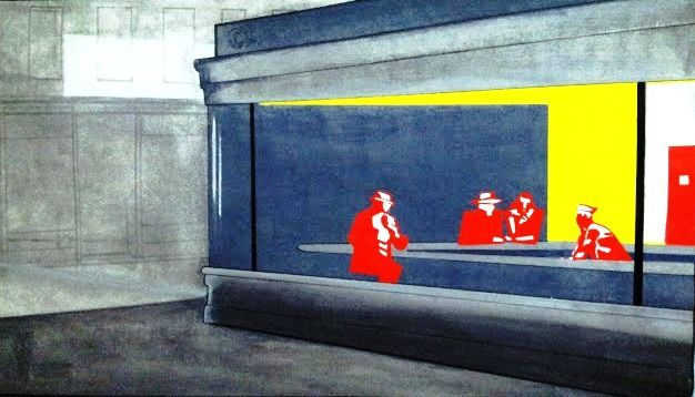 Hommage à E.Hopper - Painting, ©2013 by Remy Rault -