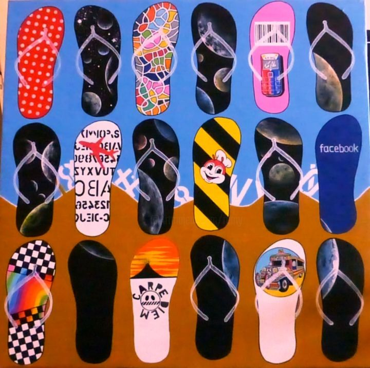 Flip-Flop trip 7 - Painting, ©2013 by Remy Rault -