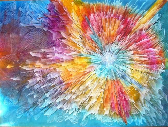 l'explosion - Painting,  38.2x51.2 in, ©2011 by Gilles Renard -
