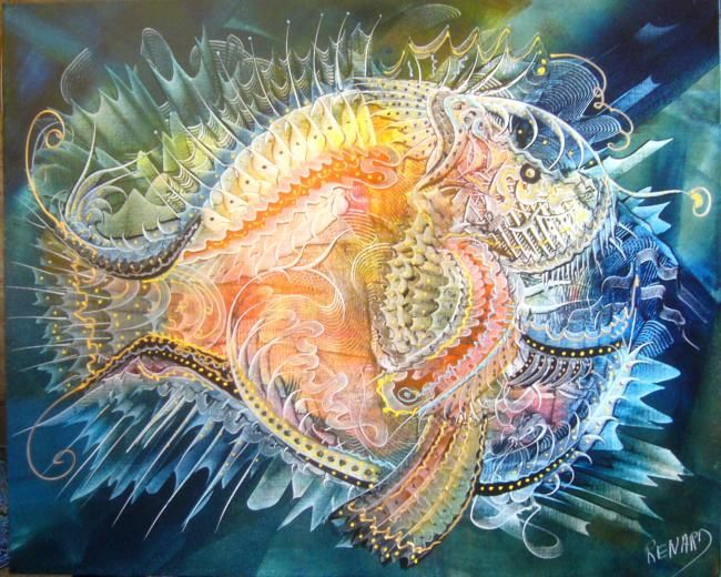 poisson abyssal - Painting,  31.9x39.4 in, ©2011 by Gilles Renard -