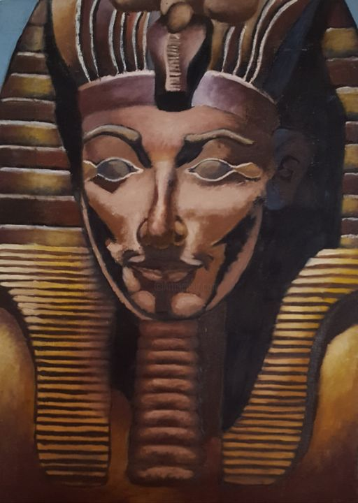 SPHINX - Peinture,  21,7x15,8 in, ©2008 par Reny Gab -                                                                                                                                                                                                                                                                                                                                          Culture, Cultures du monde, Culture populaire / célébrité, oil, sphinx, culture, Egypt