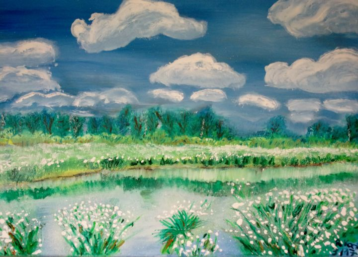 Wolken, Wind und wogendes Wollgras - Painting,  19.7x27.6 in, ©2017 by Renate Kock -                                                                                                                                                                                                                                                                                                                                                          Figurative, figurative-594, Seasons, Landscape, Nature, Places, Water