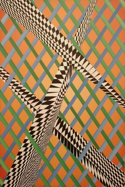 Cruzados - Painting,  90x60 cm ©2012 by Renato Machado Renato -                                                            Contemporary painting, Canvas, Geometric, pintura, tela, acrilico, geometrico, contemporaneo