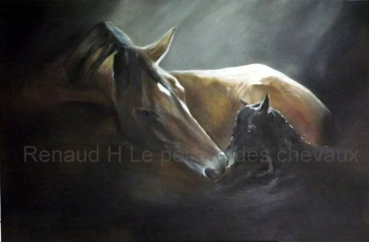 """Painting titled """"Poulinage"""" by Renaud Hadef, Original Art, Oil"""