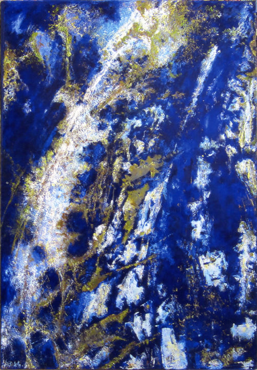 Lapis Lazuli - Painting,  76.4x51.2 in, ©2018 by Isis Lully -                                                                                                                                                                          Abstract, abstract-570, minéraux