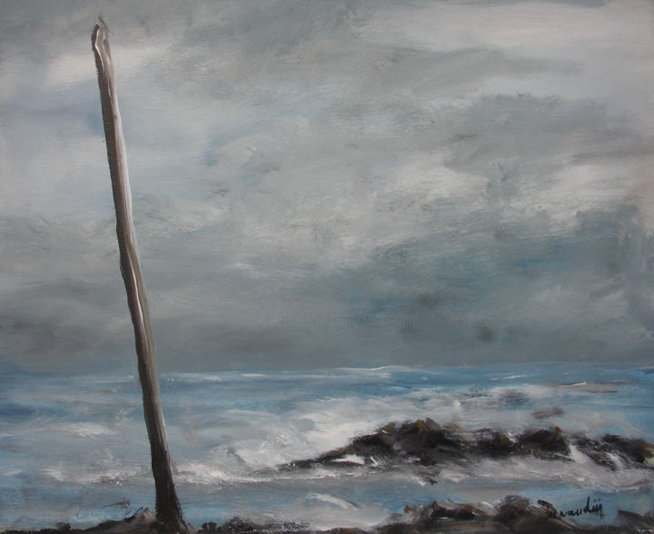 soir d'orage - Painting,  19.7x23.6 in, ©2018 by Jean Louis Renaudin -                                                                                                                                                                                                                                                                                                                                                                                                          Figurative, figurative-594, Seascape, paysage marin, bord de mer, peinture marine, jean louis renaudin, vendée