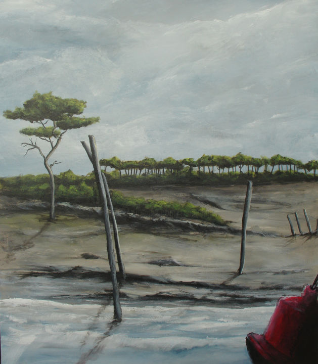 les rives du Lay - Painting,  73x54 cm ©2019 by Jean Louis Renaudin -                                                            Figurative Art, Canvas, Seascape, paysage marin, bord de mer, ile de ré, pointe d'arçay, jean louis renaudin, peintre vendéen