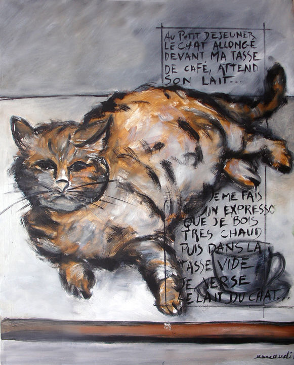mon-chat-1.jpg - Painting,  35.4x31.5 in, ©2014 by Jean Louis Renaudin -                                                                                                                                                                                                  peinture, chat, renaudin, animaux