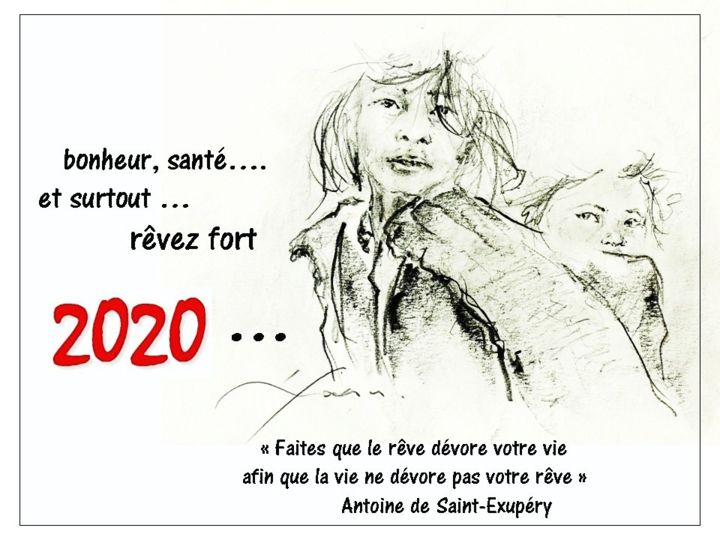 """Drawing titled """"Voeux 2020"""" by René Goxes, Original Art, Pencil"""