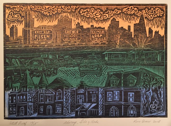 """Printmaking titled """"Chicago dia y noche"""" by Rene Hugo Arceo, Original Art, Xylography"""