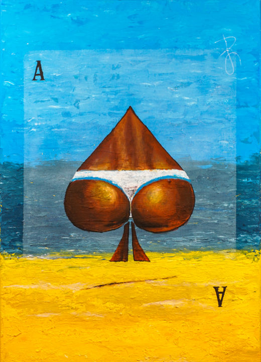 """Semi-Surrealistic painting """"Ass of Spades"""" - Painting,  76x56x4.5 cm ©2018 by Retne -                                                                                                                                                                                                            Contemporary painting, Surrealism, Symbolism, Canvas, Beach, Erotic, Fantasy, Health & Beauty, Humor, Landscape, Nature, Nude, Seascape, Water, Women, Retne, Retne Art, acrylic on canvas, artwork by retne, bikini girl, blue and yellow painting, colorful landscape, figure in landscape, interior decor beach, playing card, semi abstract landscape, semi abstract, semi-abstract still life, sexy lady, sexy nude, sky blue, surrealistic art, surrealistic landscape, ass, butt, figure-painting, semi-abstract, semi-surrealistic, semiabstract"""