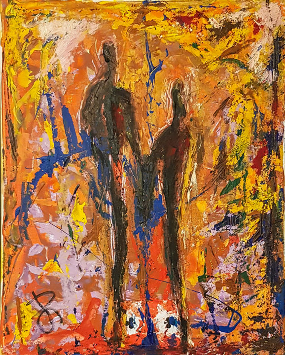 """""""Couple"""". Semi-Abstract Figure Painting - Painting,  50x40x2 cm ©2016 by Retne -                                                                                                Abstract Expressionism, Contemporary painting, Expressionism, Canvas, Abstract Art, Body, Retne, Retne Art, yellow orange blue red, abstract art by Retne, abstract expressionism art, acrylic paint on canvas, mixed media on canvas, playing card art by Retne, playing cards art by Retne, retne playing cards, semi abstract art"""
