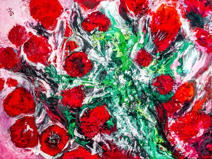 Indian Roses. Original Semi-Abstract Painting. - Painting,  60x80x2 cm ©2018 by Retne -                                                                                                                        Abstract Art, Abstract Expressionism, Contemporary painting, Expressionism, Figurative Art, Canvas, Abstract Art, Flower, abstract expressionism art, abstract expressionism artwork, abstract expressionism flowers, abstract flowers by retne, abstract flowers painting, abstract rose flower, abstract rose painting, abstract rose, abstract roses painting, abstract roses, abstract roses by Retne, flower painting contemporary, flowers painting by Retne, flowers painting abstract, green red abstract, green red painting, indian roses artwork, mixed media abstract, oil on canvas abstract, red green painting by Retne, roses painting, roses artwork, texture abstract painting, texture art painting, textured roses painting