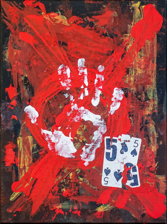 Take Five. ORIGINAL ABSTRACT PAINTING. - Painting,  40x30x1.5 cm ©2017 by Retne -                                                                                                Abstract Art, Abstract Expressionism, Contemporary painting, Expressionism, Canvas, Abstract Art, abstract art by retne, action and gestures, action abstract painting, painting with playing card, retne artwork, playing card painting, abstract expressionism, abstract red painting, Fine Art Painting, figurative abstract art, expressionism abstract