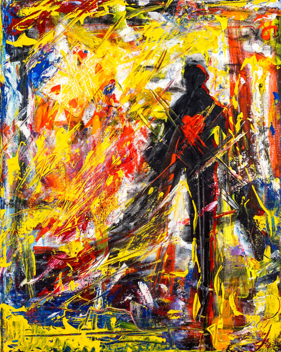 Self Satisfaction. Semi-Abstract Figure Painting. - Painting,  50x40x2 cm ©2017 by Retne -                                                                                                                                                Abstract Art, Abstract Expressionism, Contemporary painting, Expressionism, Figurative Art, Modernism, Canvas, Abstract Art, Love / Romance, Men, abstract expressionism art, acrylic abstract art, artwork by retne, mixed media abstract, heart painting, semi-abstract art, playing cards artwork, yellow and red abstract, oil abstract expresionism, mixed media on canvas, abstract by Retne, retne abstract art