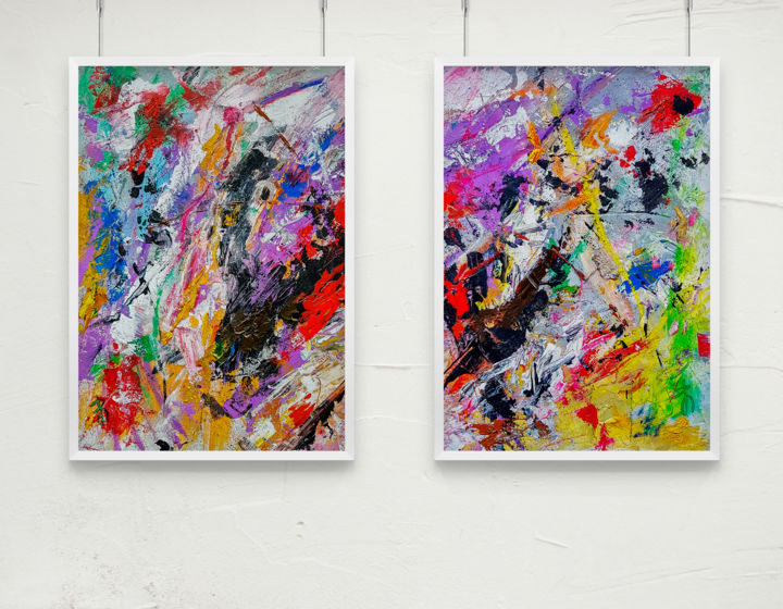 "TEXTURED ABSTRACT ART Diptych ""Velocity"" - Painting,  42x59.4x0.1 cm ©2019 by Retne -                                                                                                    Abstract Art, Abstract Expressionism, Contemporary painting, Expressionism, Abstract Art, Interiors, Landscape"