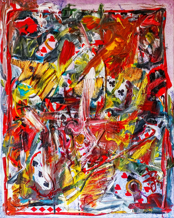 Playing Cards Colorful Abstract Mixed-media - Painting ©2018 by Retne -                                                                                Abstract Art, Abstract Expressionism, Contemporary painting, Expressionism, Abstract Art, Playing Cards, Colorful Abstract, Abstract Mixed-media, Rich textured painting, mixed media abstract, mixed media painting, abstract oil on canvas, rich texture abstract, abstract art, textured abstract painting, abstraction with playing cards, acrylic abstract painting, colorful abstract painting, contemporary abstract art